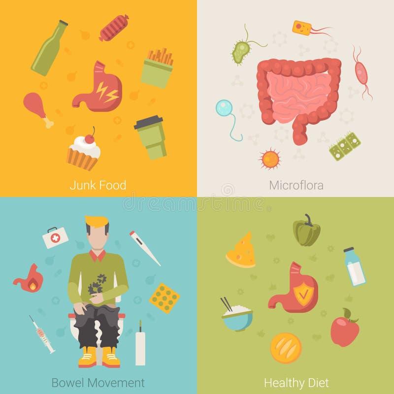 Organo sano piano dell'intestino degli intestini dello stomaco illustrazione di stock