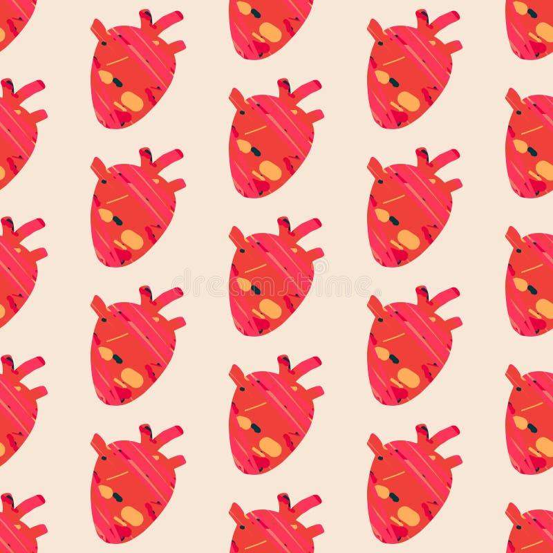 Organo senza cuciture disegnato a mano di anatomia del modello del cuore rosso strutturato sulla fonte leggera illustrazione vettoriale