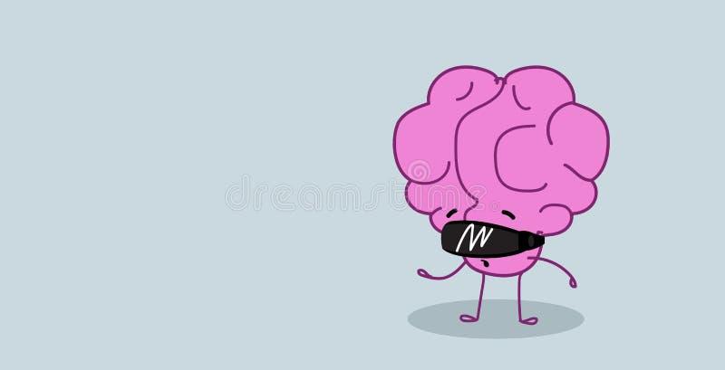 Organo sveglio del cervello umano che indossa il fumetto rosa di vetro di realtà virtuale della cuffia avricolare di visione di c illustrazione vettoriale