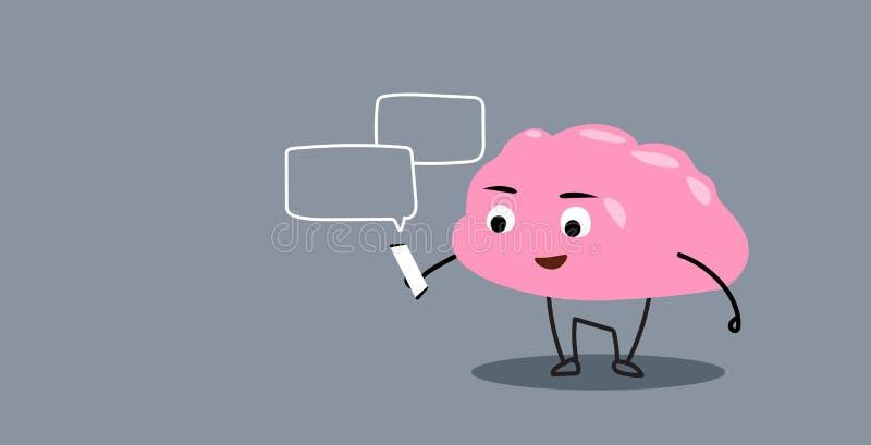 Organo sveglio del cervello umano facendo uso del fumetto rosa del app dello smartphone di chiacchierata della bolla di comunicaz illustrazione di stock