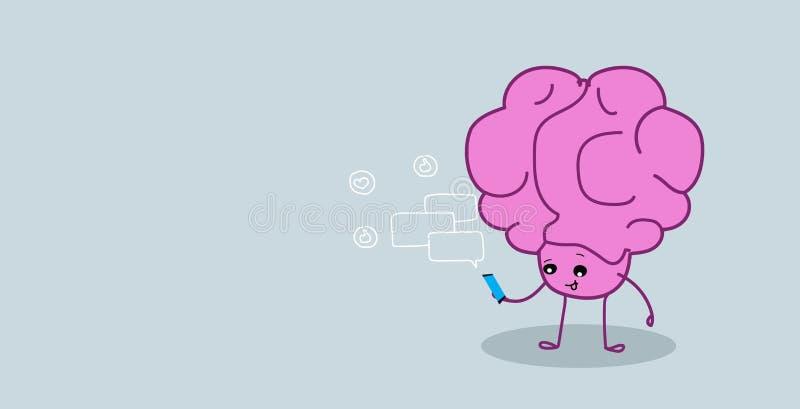 Organo sveglio del cervello umano facendo uso del kawaii mediano sociale di concetto della rete del app dello smartphone di chiac illustrazione di stock