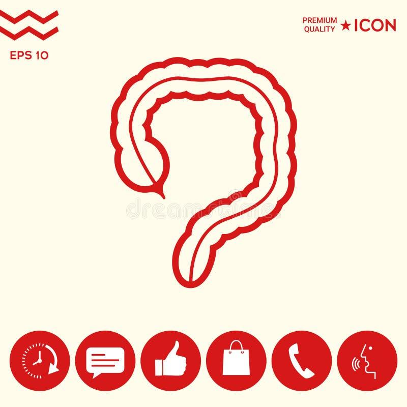 Organo umano - l'icona dell'intestino crasso illustrazione di stock