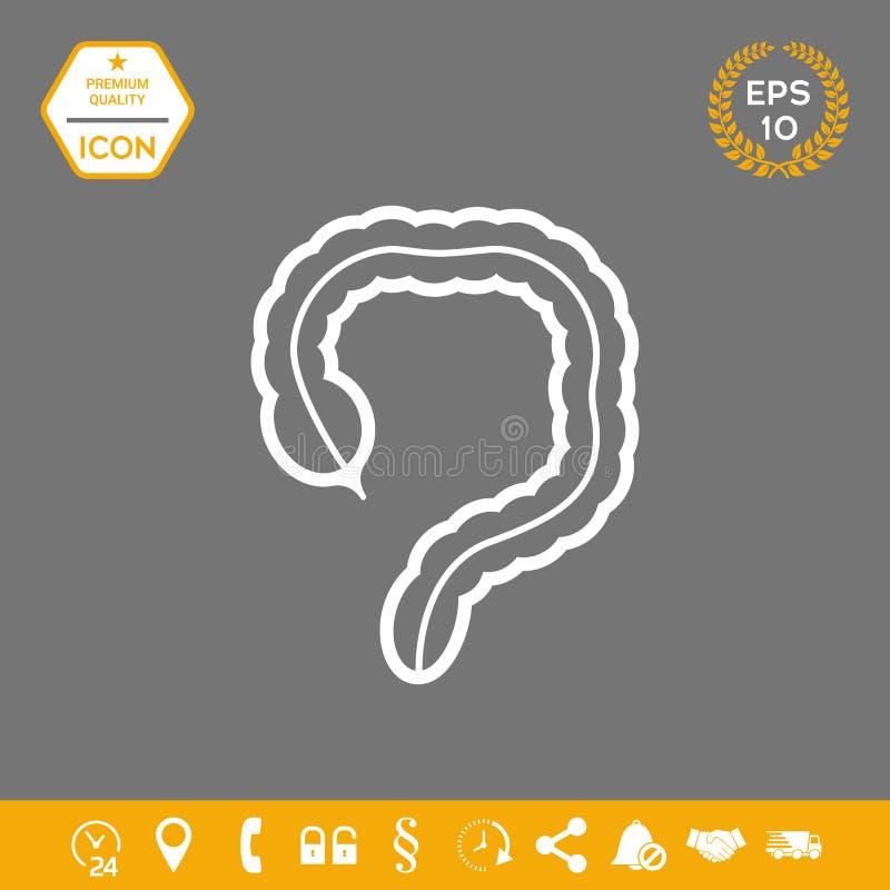 Organo umano - l'icona dell'intestino crasso Elementi grafici per la vostra progettazione illustrazione di stock