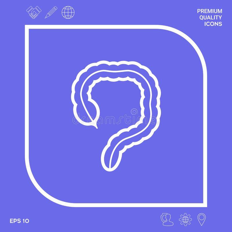 Organo umano - l'icona dell'intestino crasso Elementi grafici per la vostra progettazione illustrazione vettoriale