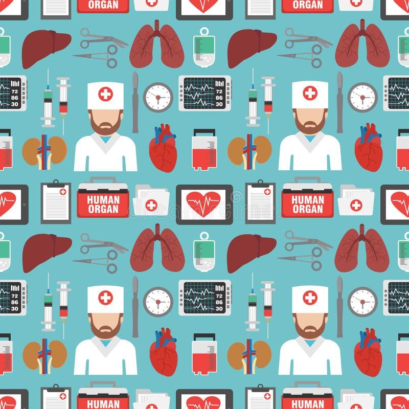 Organo umano per il piano senza cuciture di progettazione di trapianto con medico illustrazione vettoriale