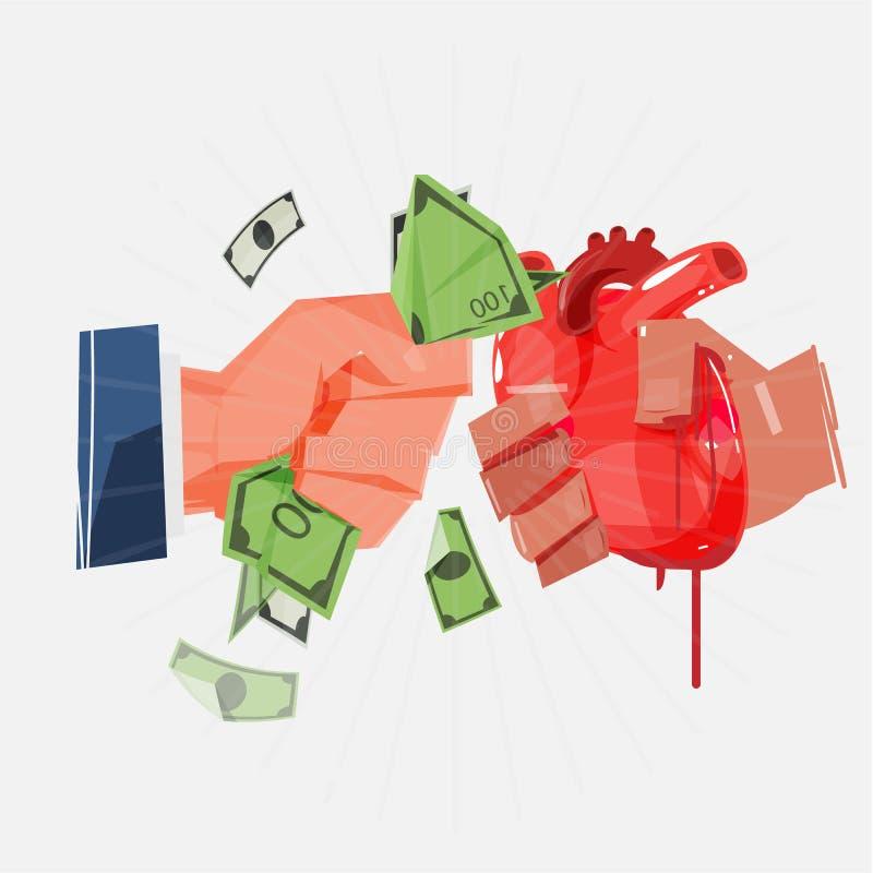 Organu handel wymieniający ludzkiego serce lub organ pieniądze - wektor royalty ilustracja