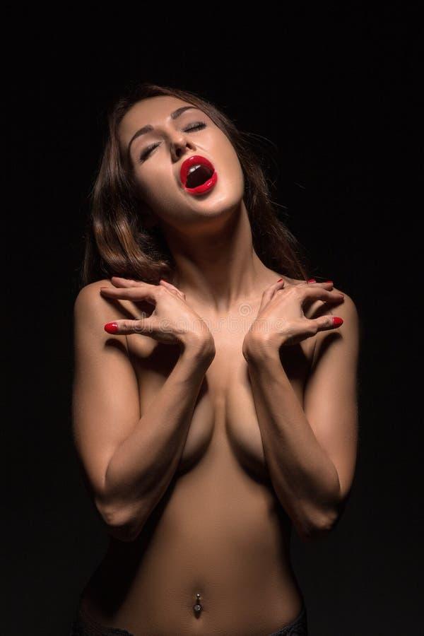 Orgasmo de lujo de la mujer fotos de archivo libres de regalías