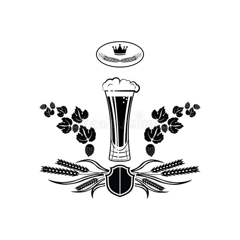 Orge de brasserie de Logo Barrel Pub Bar Tavern en verre de bière brassant le label alcoolique de ruban de nourriture noir et bla illustration stock