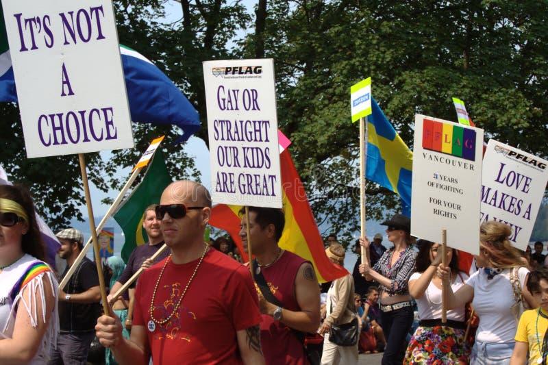 Orgoglio gaio della famiglia, parata Vancouver di orgoglio immagini stock