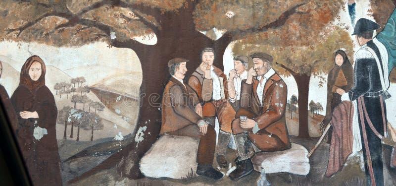 ORGOSOLO ITALIË 4 Oktober 2015 Murales in Orgosolo Italië aangezien ongeveer 1969 de muurschilderijen op verschillende aspecten v royalty-vrije stock foto