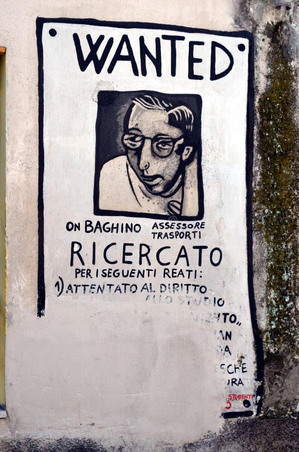 ORGOSOLO ITALIE le 4 octobre 2015 Murales dans Orgosolo Italie puisqu'environ 1969 les peintures de mur reflètent différents aspe photos stock