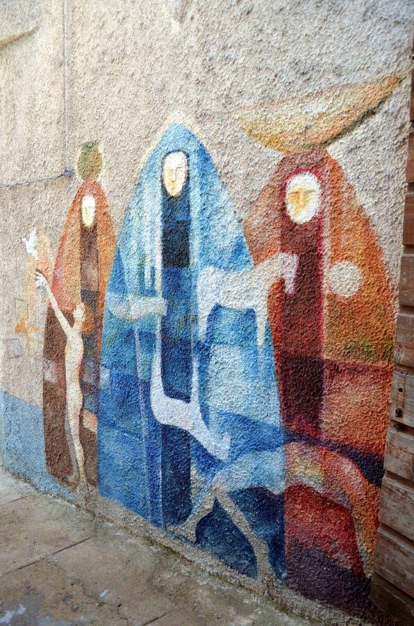 ORGOSOLO ITALIE le 4 octobre 2015 Murales dans Orgosolo Italie puisqu'environ 1969 les peintures de mur reflètent différents aspe images stock