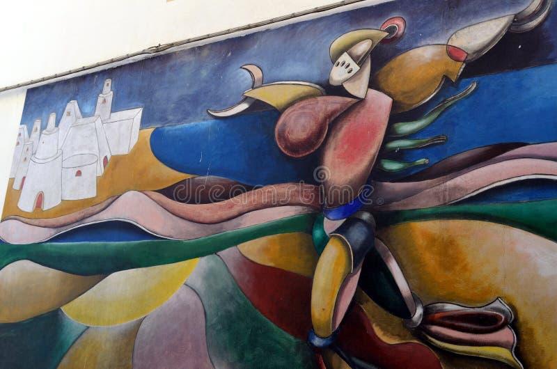 ORGOSOLO ITALIE le 4 octobre 2015 Murales dans Orgosolo Italie puisqu'environ 1969 les peintures de mur reflètent différents aspe photos libres de droits