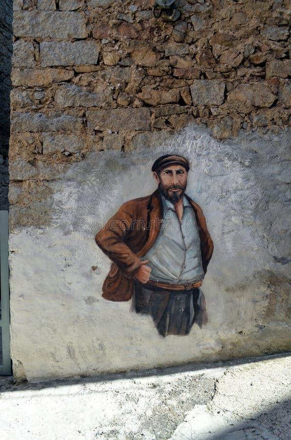 ORGOSOLO ITALIE le 4 octobre 2015 Murales dans Orgosolo Italie puisqu'environ 1969 les peintures de mur reflètent différents aspe photographie stock libre de droits