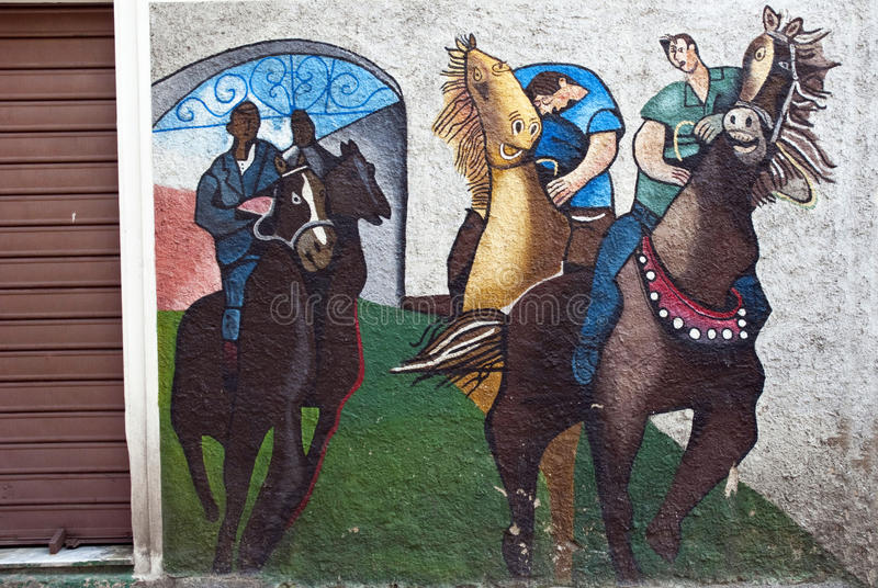 Orgosolo murales - Sardinia. The famous murals of Orgosolo village - Sardinia - Italy. The first mural in Orgosolo was built in 1969 by a group of anarchists in stock image
