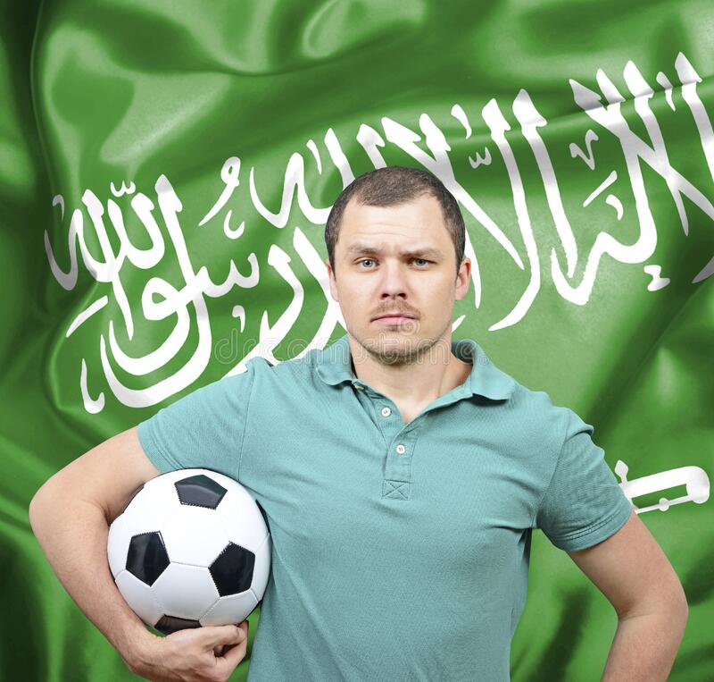 Orgulloso hincha de fútbol de Arabia Saudita imagenes de archivo