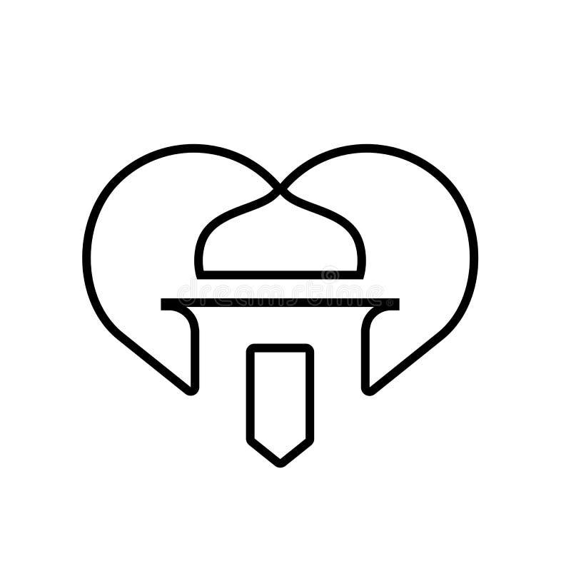 Orgulloso ser musulmanes, símbolo de la mezquita combinado con la forma del corazón, línea Art Style Illustration ilustración del vector