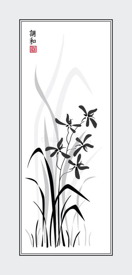 Orhid de Sumi-e ilustração stock