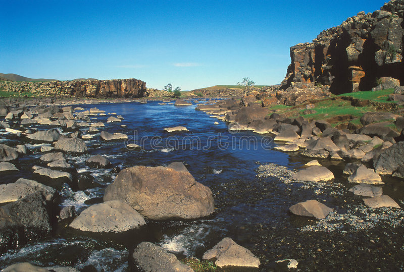 Orhon Fluss- Mongolei stockfotos