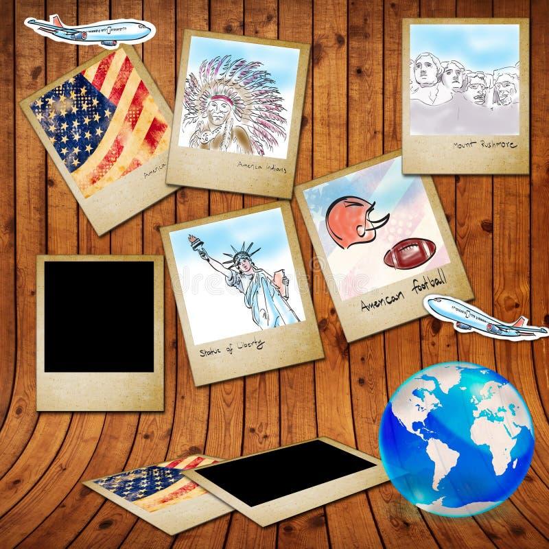 Oriëntatiepunt van Amerika in fotoframe stock afbeeldingen