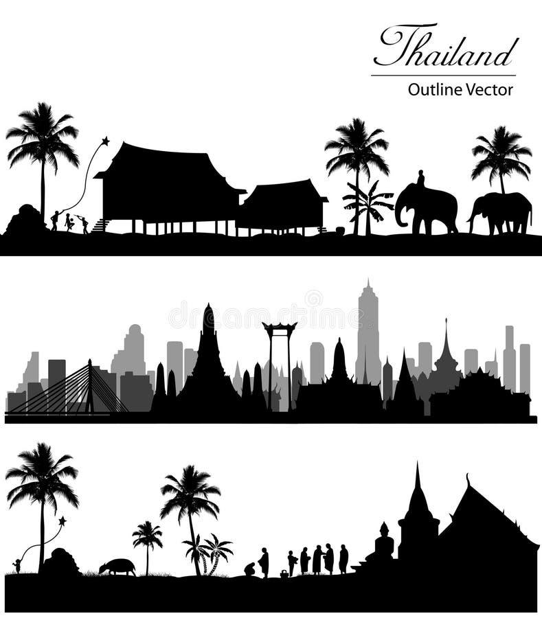 Oriëntatiepunt van Bangkok, Thailand vector illustratie