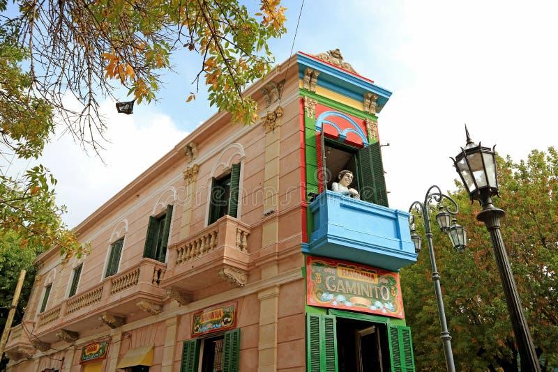 Oriëntatiepunt van Caminito of Weinig Gang in het Spaans, Straatmuseum in La Boca Neighborhood van Buenos aires, Argentinië stock afbeelding