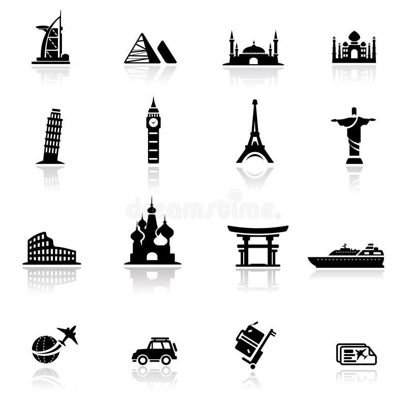 Oriëntatiepunten en de culturen van het pictogram de vastgestelde vector illustratie