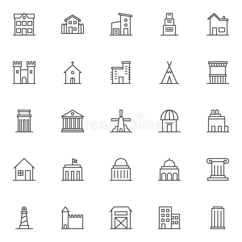 Oriëntatiepunten en de pictogrammen geplaatste van het de bouwoverzicht vector illustratie