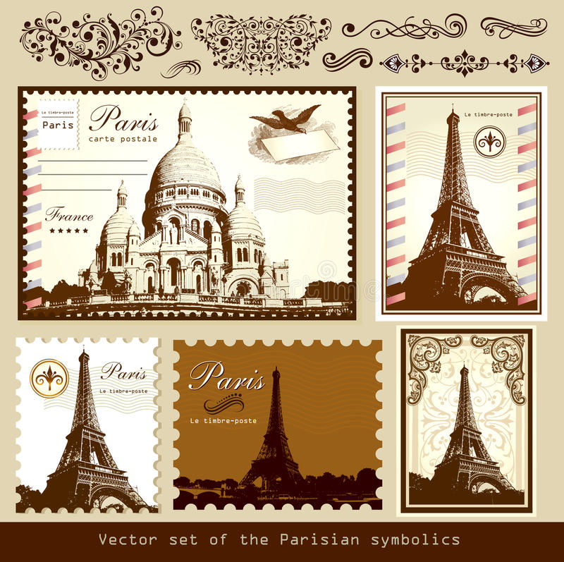 Oriëntatiepunten en symbolen van Parijs royalty-vrije illustratie