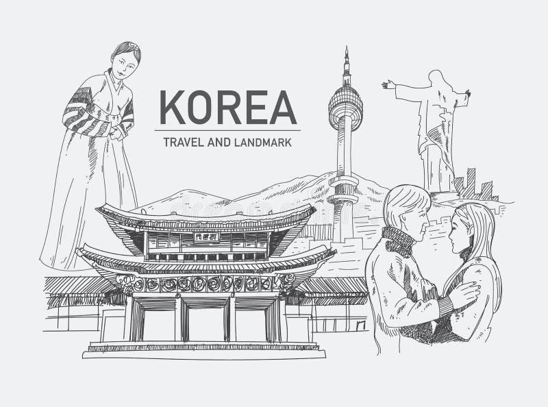 Oriëntatiepunten in Korea vector illustratie