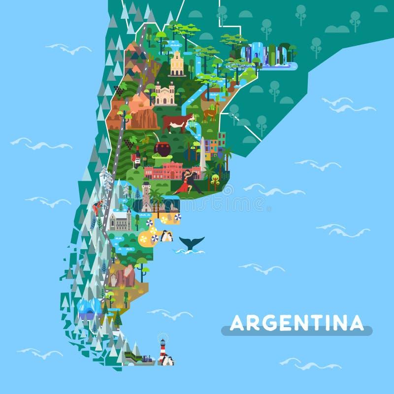 Oriëntatiepunten of sightseeingsplaatsen op de kaart van Argentinië stock illustratie