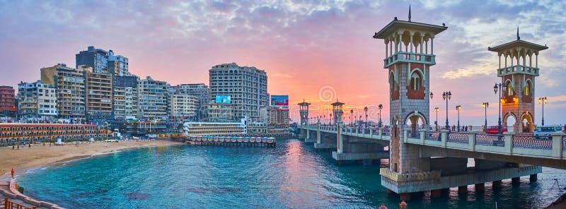Oriëntatiepunten van de buurt van Stanley, Alexandrië, Egypte stock foto's