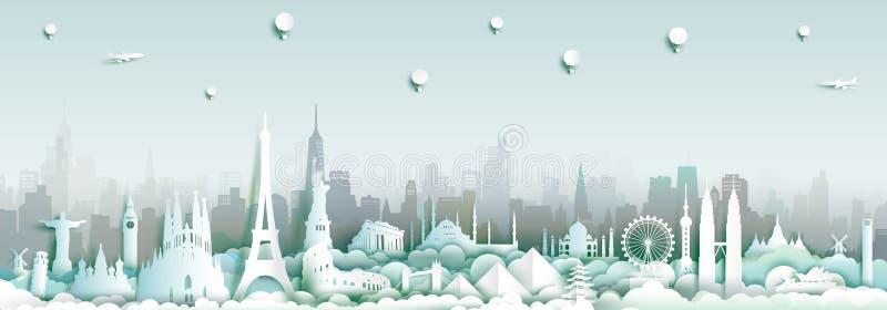 Oriëntatiepunten van de wereld met de achtergrond van de stadshorizon royalty-vrije illustratie