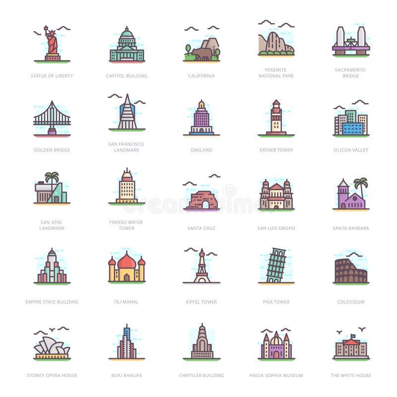 Oriëntatiepunten Vlakke Pictogrammen vector illustratie
