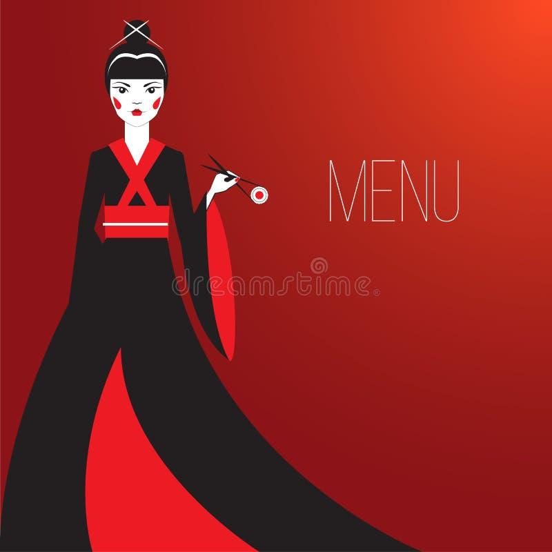 Oriantal femme fatale σε ένα μακρύ μαύρο κιμονό με ένα παραδοσιακό ιαπωνικό makeup που τρώει τα σούσια απεικόνιση αποθεμάτων