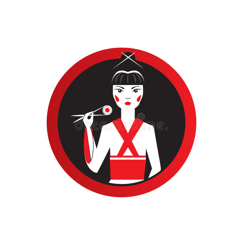 Oriantal femme fatale στο μαύρο κιμονό με ένα παραδοσιακό ιαπωνικό makeup που τρώει τα σούσια απεικόνιση αποθεμάτων