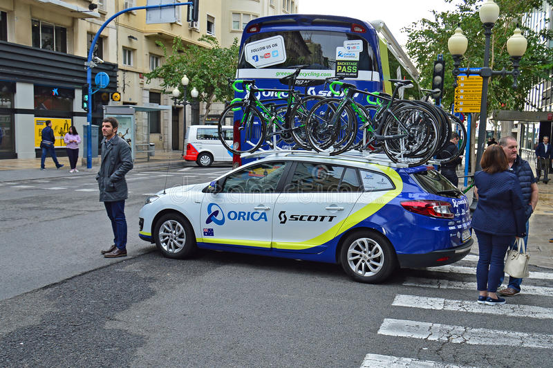 Orica Scott Team Car And Bikes royalty free stock images