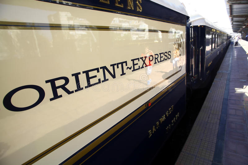 Orient Express train. Bucharest, Romania - September 3, 2012: Detail on one of the wagons of the Orient Express train, shortly after arriving in Bucharest. The royalty free stock photography