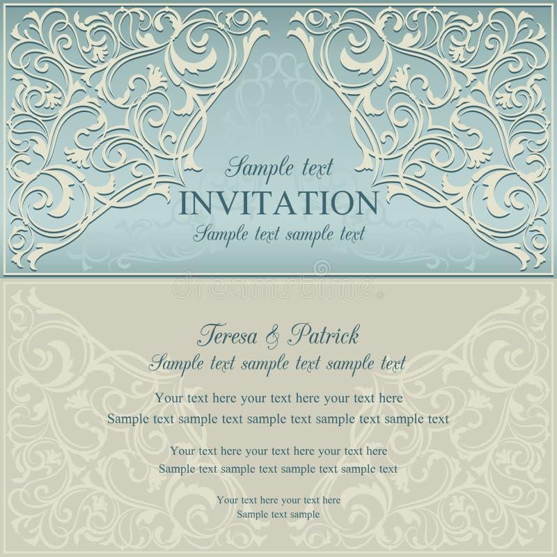 Orient invitation, blue and beige. Orient east invitation card in old-fashioned style, blue and beige stock illustration