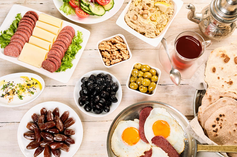 Orient table full of breakfast components royalty free stock photo