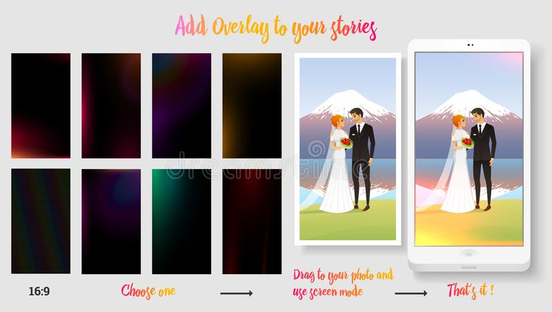 Orientação vertical Smartphone Alargamento da lente Luz solar transparente Grupo de fundo de incandescência para suas imagens par ilustração stock