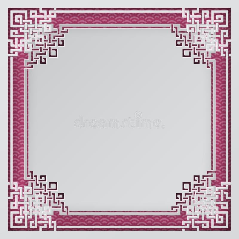 Orientał rama na menchiach deseniuje tło dla chińskiego nowego roku kartka z pozdrowieniami, plakata lub sztandaru, ilustracja wektor