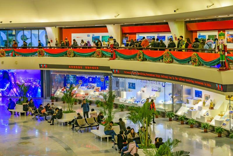 Orientała Perl wierza wnętrze, Szanghaj, Chiny zdjęcie royalty free