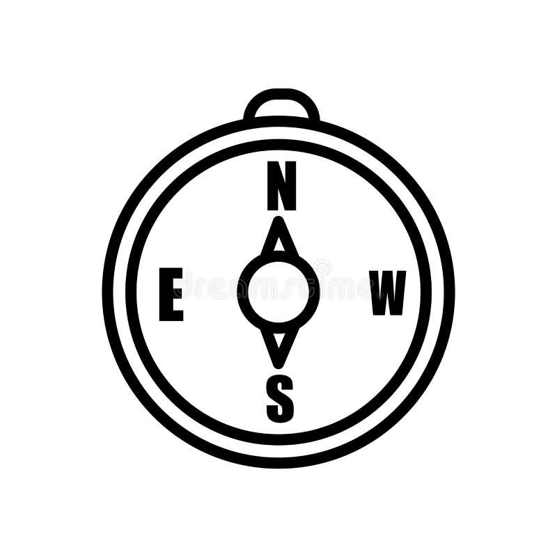 Orientacji ikony Cyrklowy wektor odizolowywający na białym tle, orientacja kompasu znak, liniowy symbol i uderzenie, projektujemy ilustracji