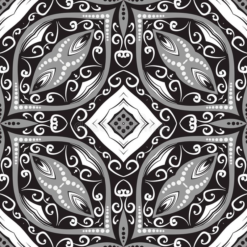Oriental arabesque style black and white Paisley vector seamless pattern. Ornamental swirls background. Ethnic style hand drawn. Floral ornament with paisley stock illustration