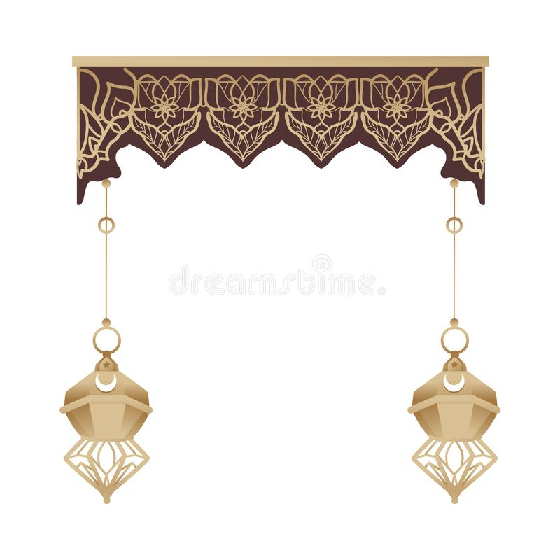 Oriental Arabic or Indian architecture entrance arch vector illustration isolated. stock illustration