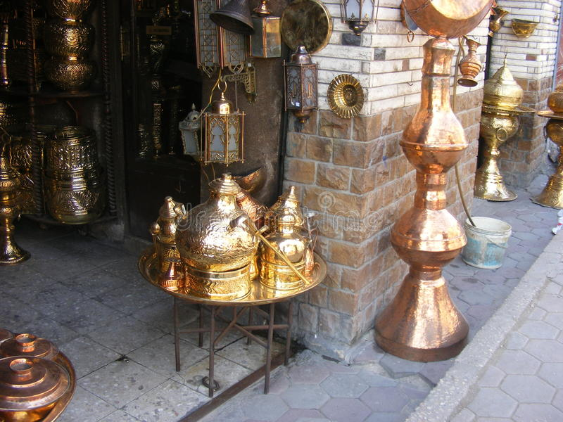Oriental Arabic jewelry on display in souk market. In khan el khalili cairo egypt royalty free stock photography
