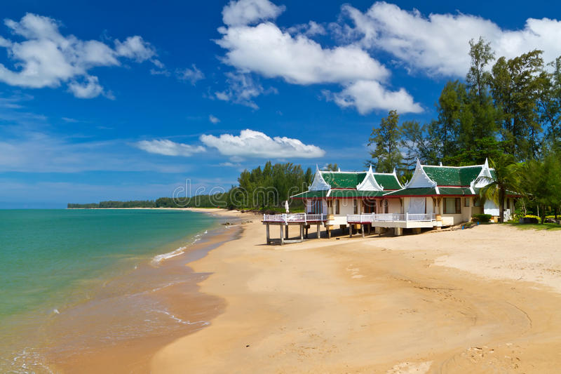 Oriental architecture holiday house on the beach stock image