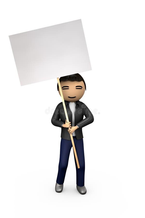 Oriental Asian 3D Guy Holding Blank Placard. Oriental Asian 3D Guy Holding Blank Protest Placard stock illustration