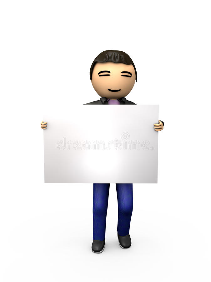 Oriental Asian 3D Guy Holding Blank Sign. Shaded Copyspace stock illustration